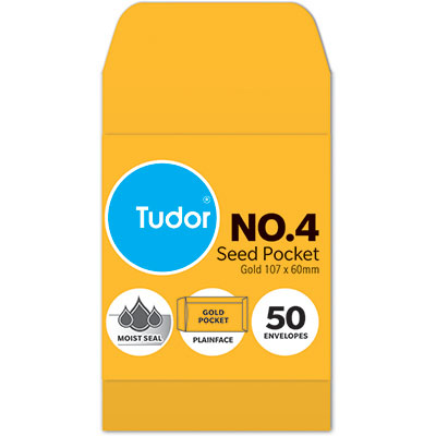 Image for TUDOR ENVELOPES NO.4 SEED POCKET PLAINFACE MOIST SEAL 80GSM 60 X 107MM GOLD PACK 50 from Office National Perth CBD