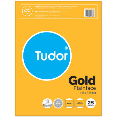 Image for TUDOR ENVELOPES POCKET PLAINFACE STRIP SEAL 135GSM 405 X 305MM GOLD PACK 25 from Office National Perth CBD