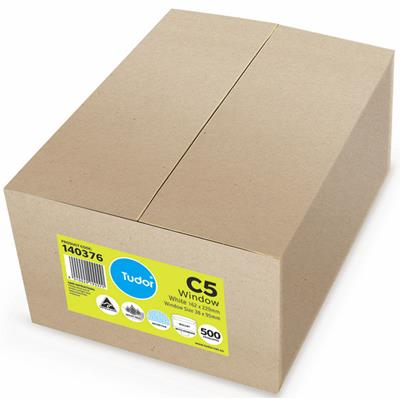 Image for TUDOR C5 ENVELOPES SECRETIVE WALLET WINDOWFACE MOIST SEAL 80GSM 162 X 229MM WHITE BOX 500 from Mackay Business Machines (MBM)