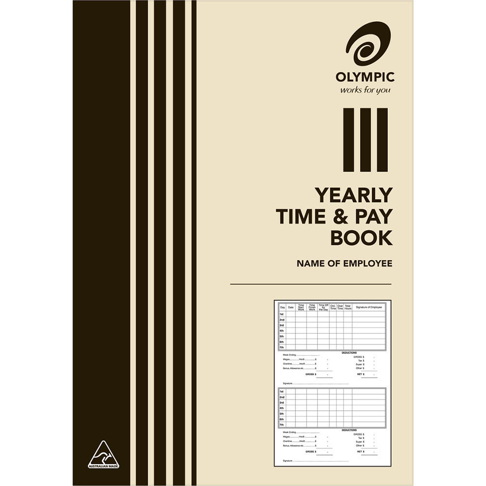 Image for OLYMPIC YEARLY TIME AND PAY BOOK A5 from SBA Office National