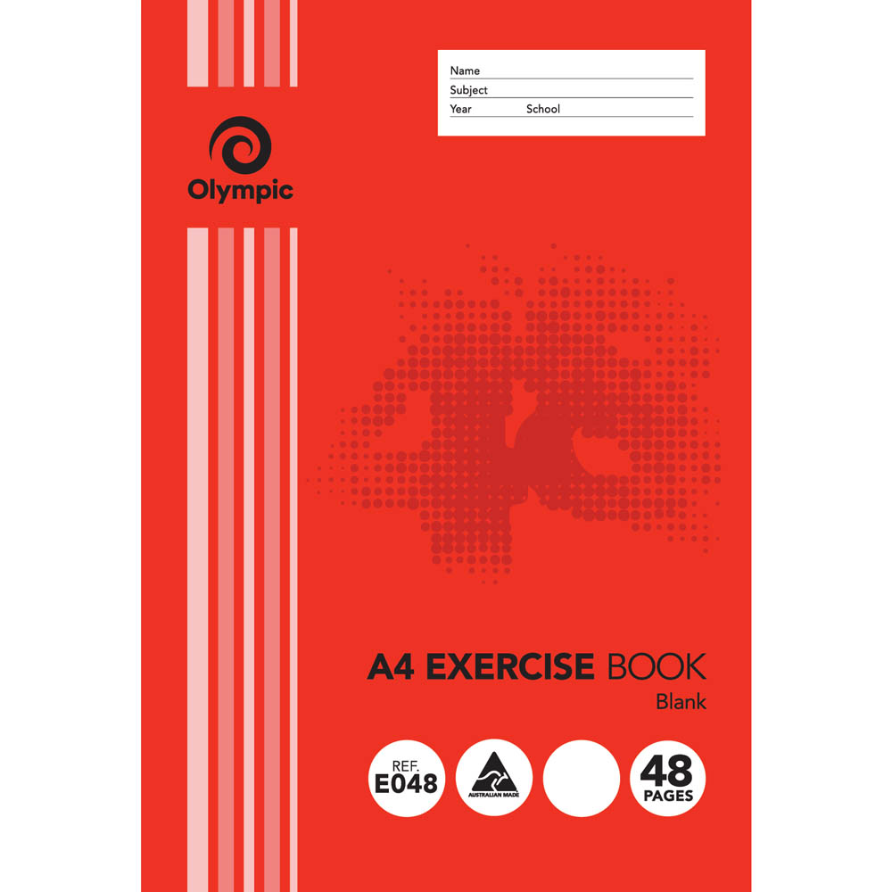 Image for OLYMPIC STRIPE EXERCISE BOOK UNRULED 55GSM 48 PAGE A4 from Our Town & Country Office National