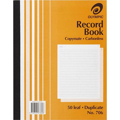 Image for OLYMPIC 706 RECORD BOOK CARBONLESS DUPLICATE 50 LEAF 250 X 200MM from Axsel Office National