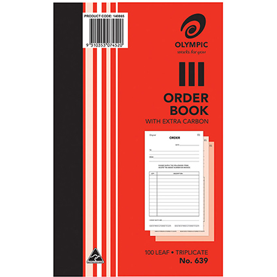 Image for OLYMPIC 639 ORDER BOOK CARBON TRIPLICATE 100 LEAF 200 X 125MM from Paul John Office National
