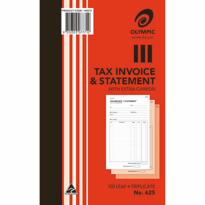 Image for OLYMPIC 625 INVOICE AND STATEMENT BOOK CARBON TRIPLICATE 100 LEAF 200 X 125MM from Paul John Office National