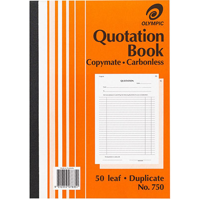 Image for OLYMPIC 750 QUOTATION BOOK CARBONLESS DUPLICATE 50 LEAF A4 from Aztec Office National