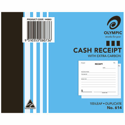 Image for OLYMPIC 614 CASH RECEIPT BOOK CARBON DUPLICATE 100 LEAF 100 X 125MM from Paul John Office National