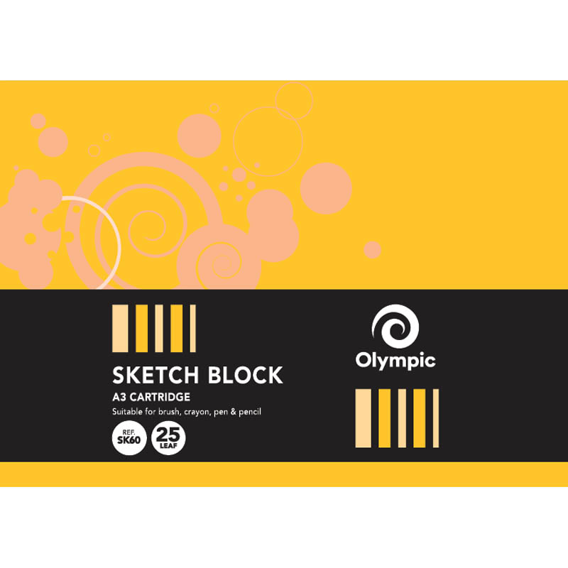 Image for OLYMPIC SKETCH BOOK A3 25 LEAF 110GSM 420 X 297MM BLACK PACK 10 from Wetherill Park / Smithfield Office National