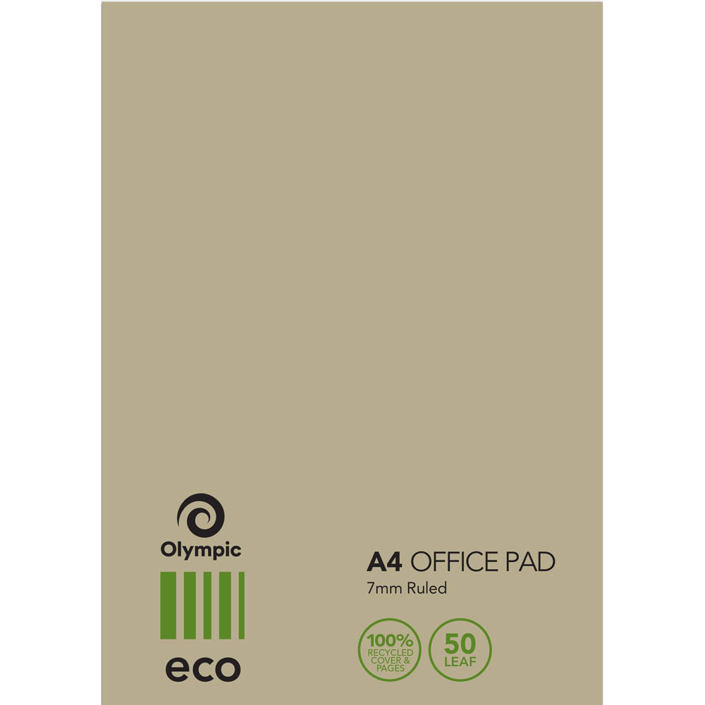 Image for OLYMPIC ECO 100% RECYCLED OFFICE PAD 7MM RULED 60GSM 100 PAGE A4 NATURAL from Axsel Office National