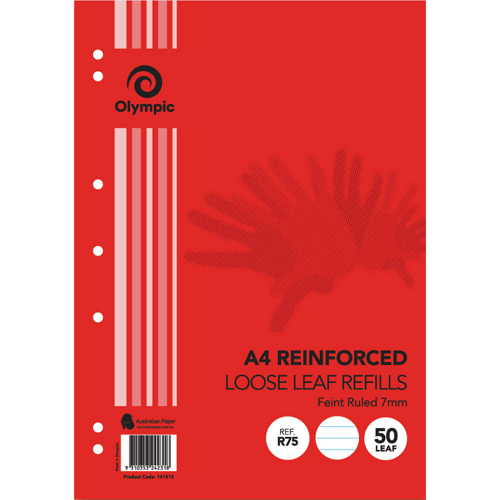 Image for OLYMPIC A4 REINFORCED LOOSE LEAF REFILL 7MM FEINT RULED 55GSM PACK 50 from Paul John Office National