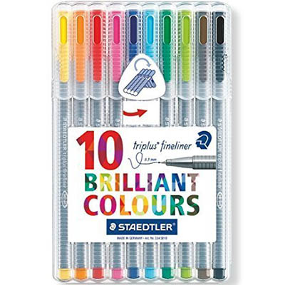 Image for STAEDTLER 334 TRIPLUS FIBRE TIP PENS 0.3MM ASSORTED PACK 10 from Paul John Office National