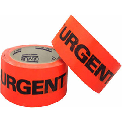 Image for STYLUS 455 PRINTED PACKAGING TAPE URGENT 48MM X 66M FLUORO ORANGE from Pirie Office National