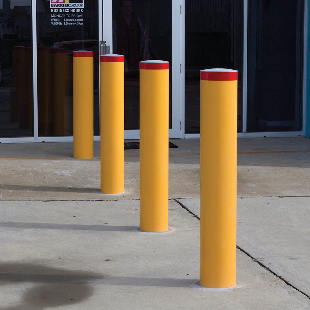 Image for BRADY BOLLARD FIXED HEAVY DUTY ROUND SURFACE MOUNT 1200 X 140MM YELLOW from Wetherill Park / Smithfield Office National