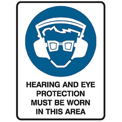 Image for TRAFALGAR MANDATORY SIGN HEARING AND EYE PROTECTION 450 X 600MM from Office National Perth CBD