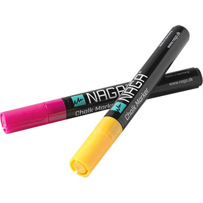 Image for NAGA GLASSBOARD CHALK MARKERS 4.5MM FLURO ORANGE AND PINK PACK 2 from Office National Perth CBD