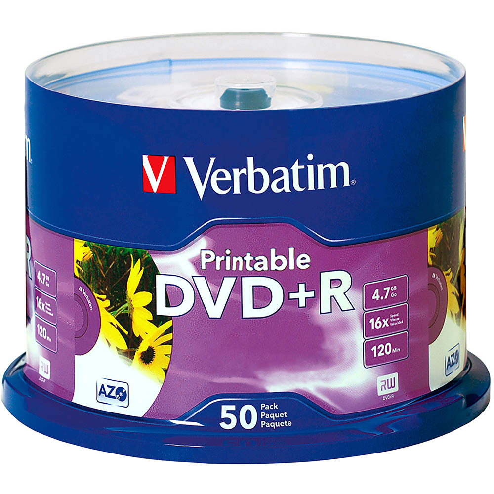 Image for VERBATIM DVD+R 4.7GB 16X WHITE PRINTABLE PACK 50 from Office National Caloundra Business Supplies