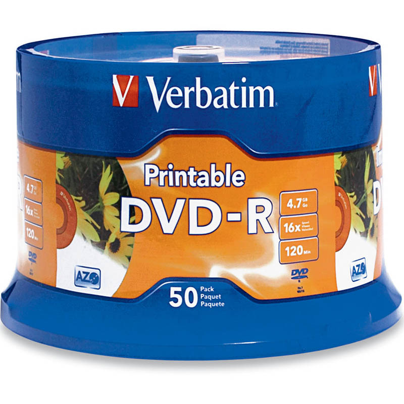 Image for VERBATIM DVD-R 4.7GB 16X WHITE PRINTABLE PACK 50 from Wetherill Park / Smithfield Office National