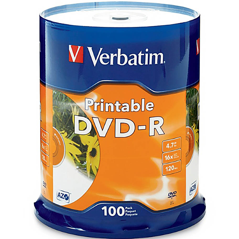 Image for VERBATIM DVD-R 4.7GB 16X WHITE PRINTABLE PACK 100 from Wetherill Park / Smithfield Office National