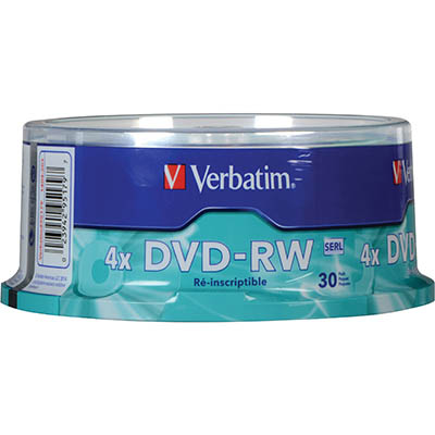 Image for VERBATIM DVD-RW 4.7GB 2X SPINDLE PACK 30 from Our Town & Country Office National