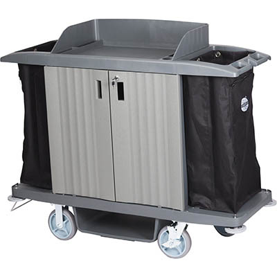 Image for COMPASS HARD FRONT HOUSEKEEPING TROLLEY WITH DOORS GREY from Two Bays Office National