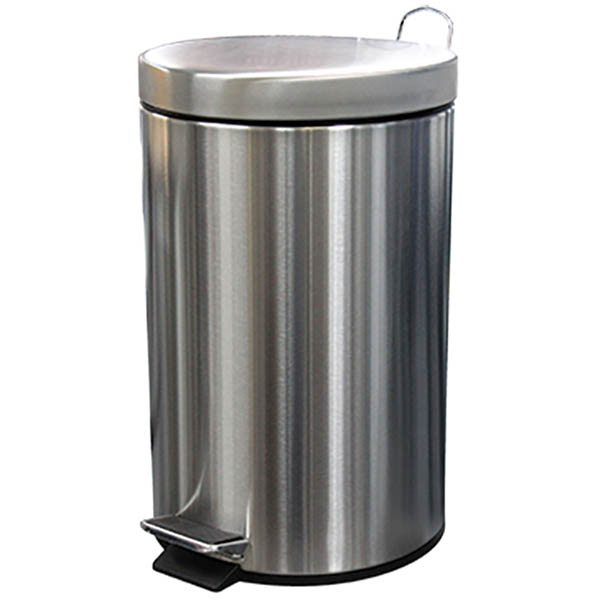 Image for COMPASS ROUND PEDAL BIN 12 LITRE STAINLESS STEEL from Pirie Office National