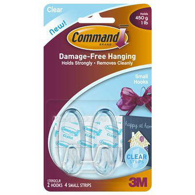 Image for COMMAND ADHESIVE SMALL HOOKS CLEAR PACK 2 HOOKS AND 4 STRIPS from Paul John Office National