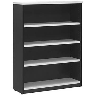 Image for OXLEY BOOKCASE 4 SHELF 900 X 315 X 1200MM WHITE/IRONSTONE from Office National Perth CBD