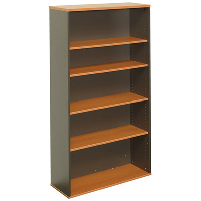 Image for OXLEY BOOKCASE 5 SHELF 900 X 315 X 1800MM BEECH/IRONSTONE from Office National Perth CBD
