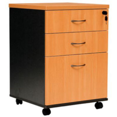 Image for OXLEY MOBILE PEDESTAL 2 DRAWER 1 FILE BEECH/IRONSTONE from Our Town & Country Office National