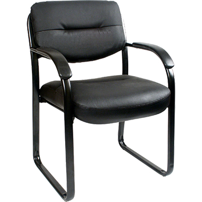 Image for YS DESIGN CLIENT VISITOR CHAIR MEDIUM BACK LEATHER BLACK from Wetherill Park / Smithfield Office National