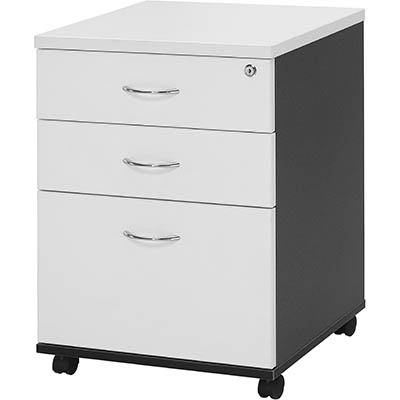 Image for OXLEY MOBILE PEDESTAL 2 DRAWER 1 FILE WHITE/IRONSTONE from Our Town & Country Office National