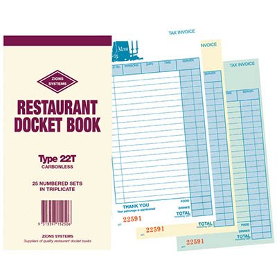 Image for ZIONS 22T RESTAURANT DOCKET BOOK CARBONLESS TRIPLICATE 200 X 100MM 25 SETS from Aztec Office National