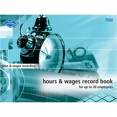 Image for ZIONS HOURS AND WAGES RECORD BOOK MEDIUM UP TO 20 EMPLOYEES from SBA Office National