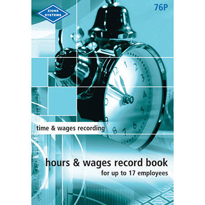 Image for ZIONS HOURS AND WAGES RECORD BOOK POCKET UP TO 17 EMPLOYEES from SBA Office National