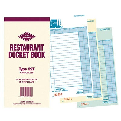 Image for ZIONS CBT RESTAURANT DOCKET BOOK CARBONLESS TRIPLICATE 170 X 100MM 25 SETS from Aztec Office National