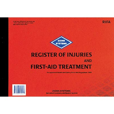 Image for ZIONS REGISTER OF INJURIES AND FIRST AID TREATMENT BOOK from Aztec Office National Melbourne