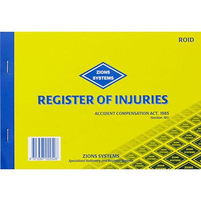 Image for ZIONS REGISTER OF INJURIES BOOK VIC from Aztec Office National Melbourne