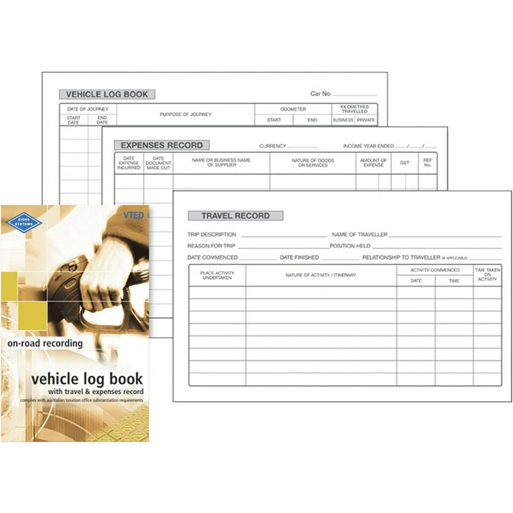 Image for ZIONS VEHICLE LOG/TRAVEL AND EXPENSES RECORD BOOK from Office National Sydney Stationery