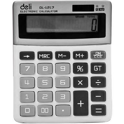 Image for Deli Small Desk Top Calculator 12 digit 132x105x30mm from Surry Office National
