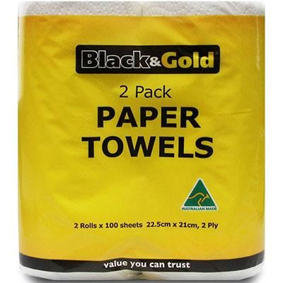 Image for BLACK AND GOLD PAPER TOWEL 2PLY PACK 2 from Wetherill Park / Smithfield Office National