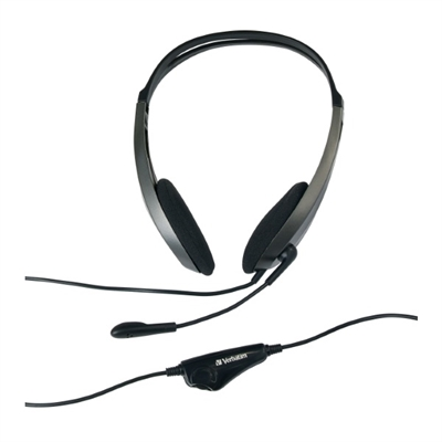 Image for VERBATIM MULTIMEDIA HEADSET WITH MICROPHONE BLACK/SILVER from Advance Office Products Depot
