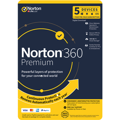Image for NORTON SECURITY 360 PREMIUM 1 YEAR SUBSCRIPTION LICENCE 5 DEVICES from Southern Office Products Depot
