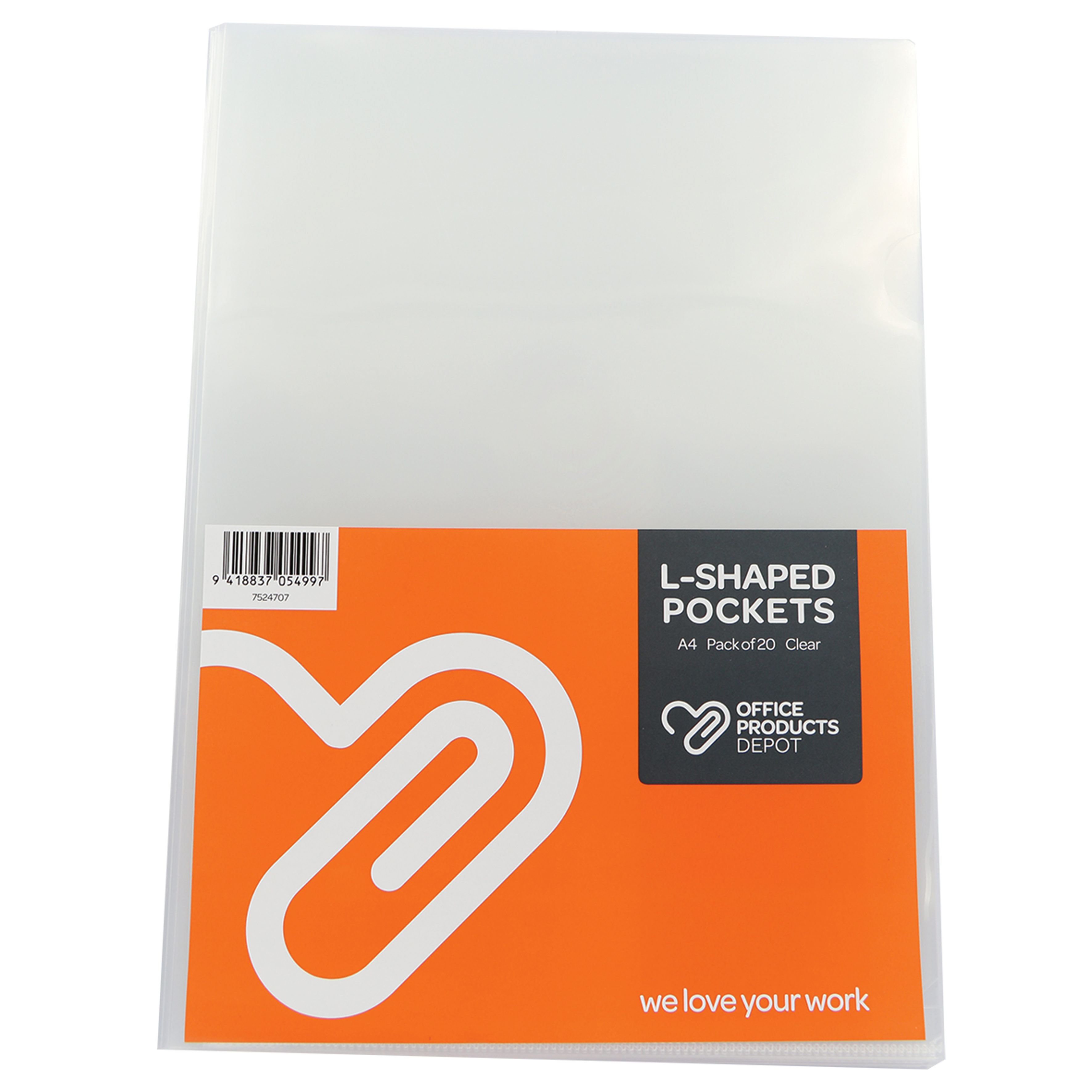 Image for OPD OFFICEWARE L-SHAPED POCKET A4 CLEAR PACK 20 from Bay Office Products Depot